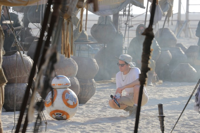 JJ Abrams and BB-8 on the set of Star Wars: The Force Awakens