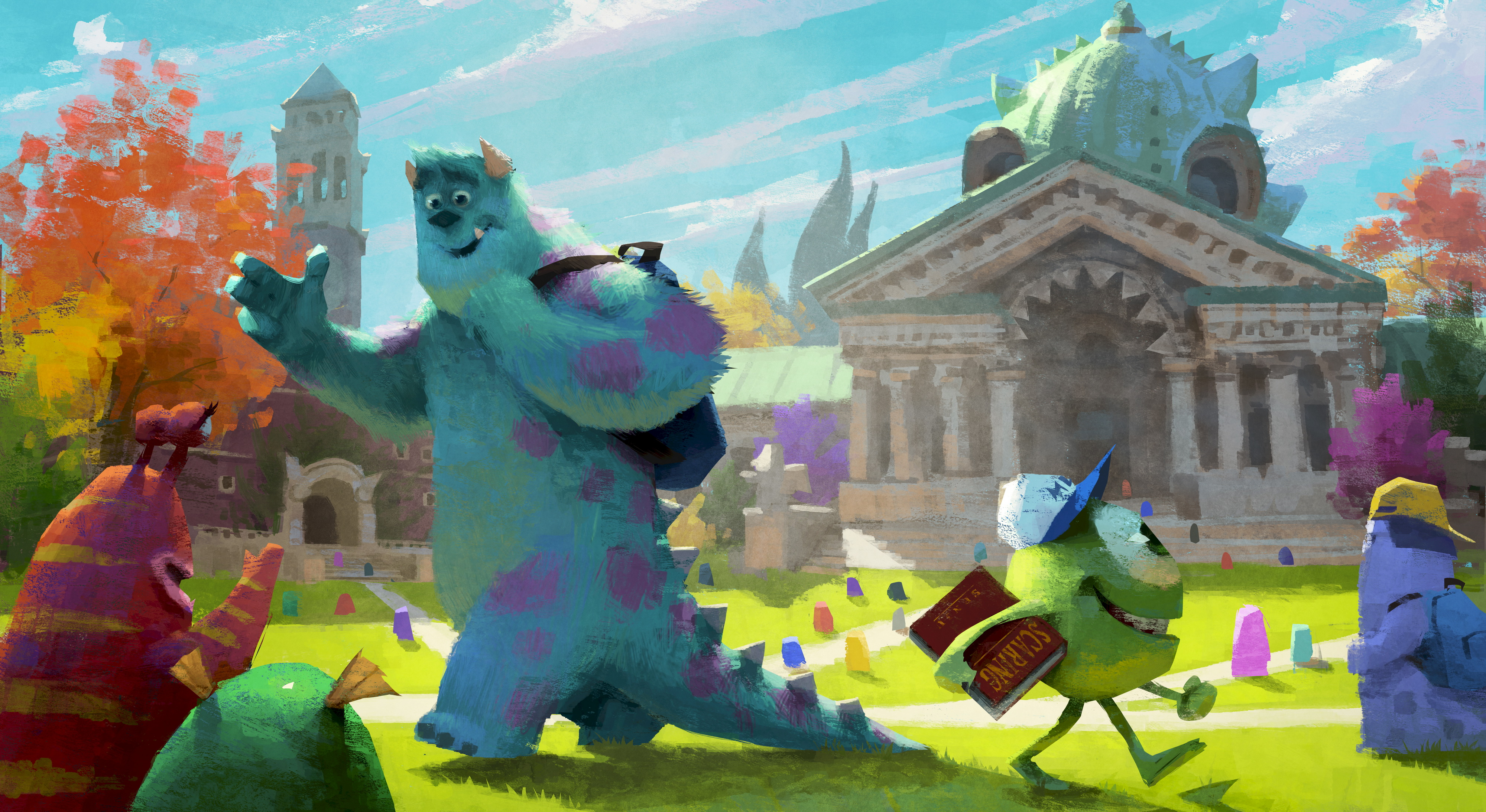 beautiful concept art from �monsters university� pre