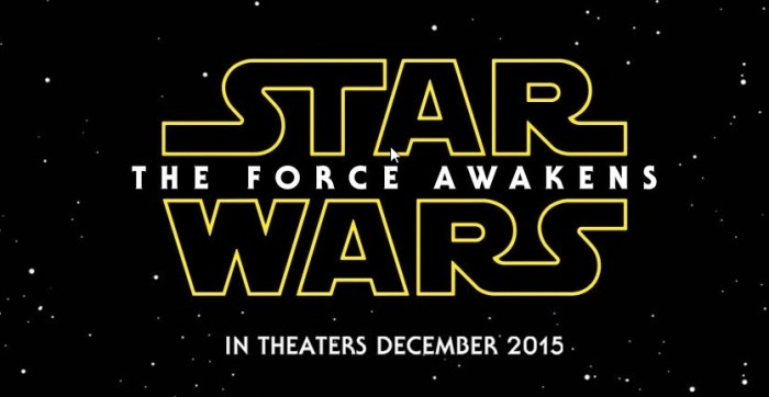 Star Wars: the Force Awakens logo with date