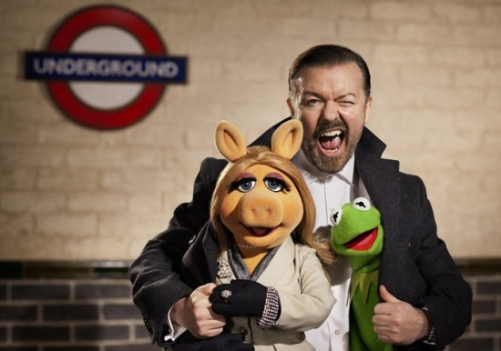 Ricky Gervais with Miss Piggy and Kermit the Frog