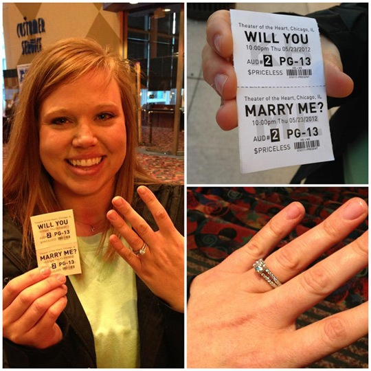 Marriage Proposal with Faux Movie Ticket