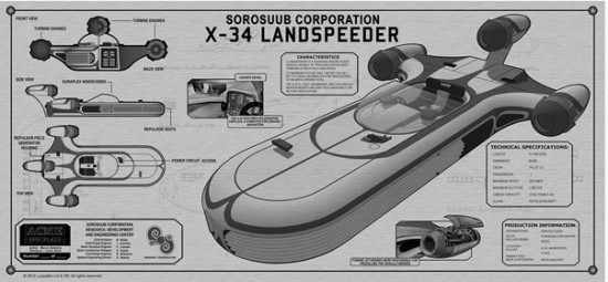 Star Wars X-34 Landspeeder TechPlate