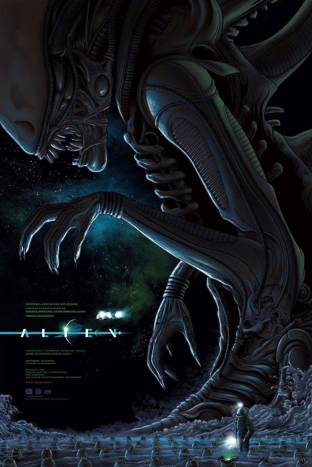 """Alien"" by Mike Saputo, Edition of 225 (Regular), 24""x36"" Screen Print, Printed by D&L Screenprinting: $45"