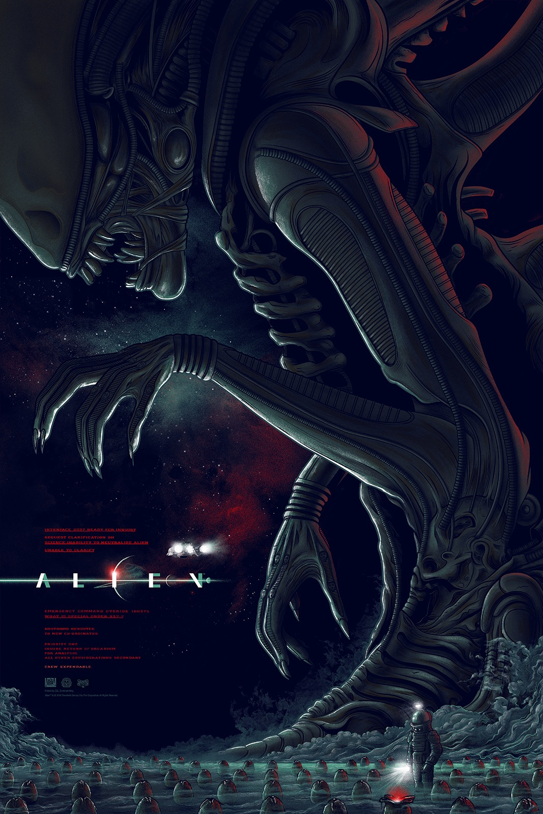 """Alien (Variant)"""" by Mike Saputo, Edition of 125, 24""""x36"""" Screen Print, Printed by D&L Screenprinting: $65"""