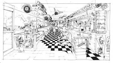 cafe 80s concept art