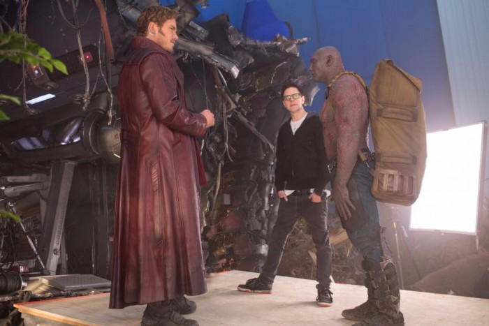 james gunn on the set of guardians of the galaxy vol 2