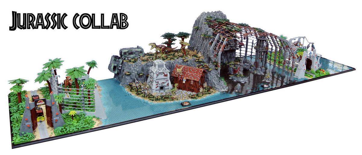 Jurassic park lego set creation combines all the movies for Puerta jurassic world