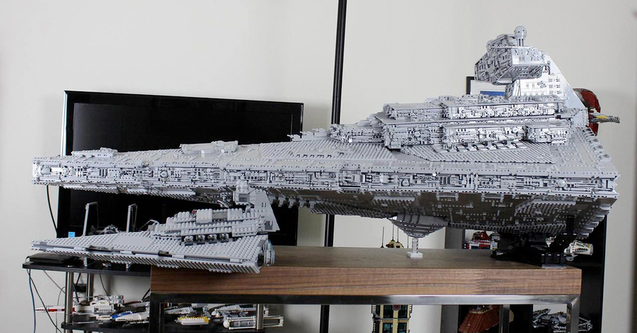 this custom lego star destroyer has three levels. Black Bedroom Furniture Sets. Home Design Ideas