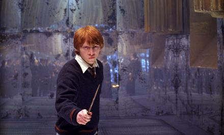 Ron readies his Wand