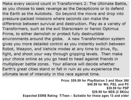 Transformers 2 video game plot