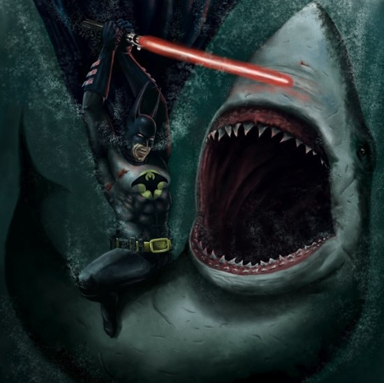 Batman Fighting a Shark with a Lightsaber