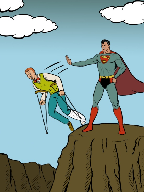 Superman pushes Jimmy off a cliff