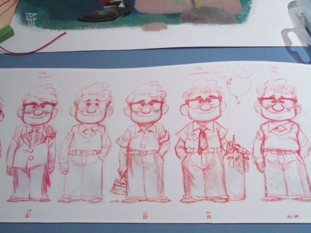 carl fredericksen age progression sketches from pixars up