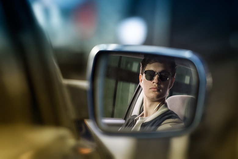 Baby Driver - Baby (Ansel Elgort) in mirror