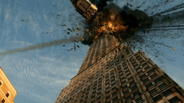 Building collapsing from a meteor strike