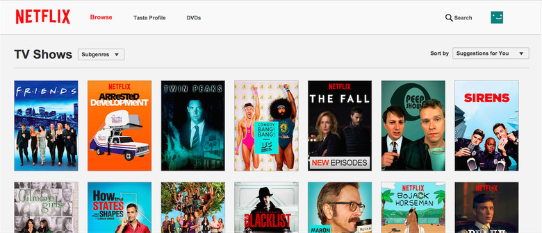Netflix TV page