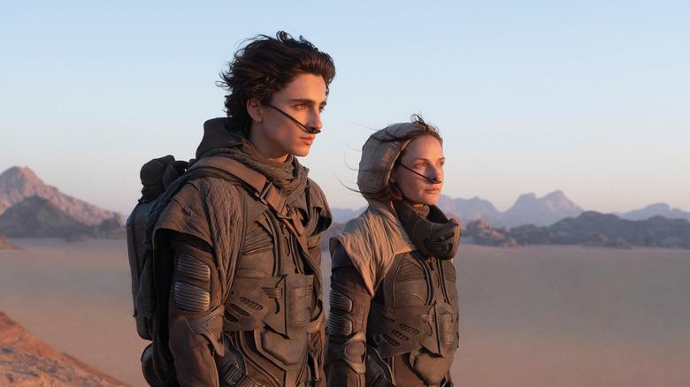Timothée Chalamet and Rebecca Ferguson on Arrakis in Dune