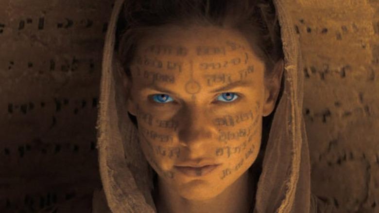 Dune blue eyes writing on face