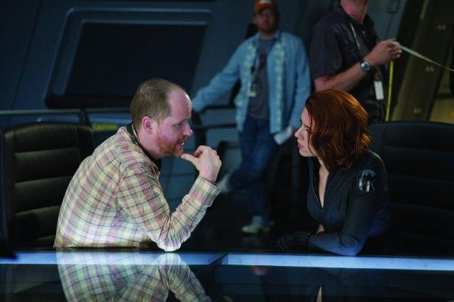Joss Whedon and Scarlett Johansson