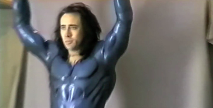 Nicolas Cage Superman costume test