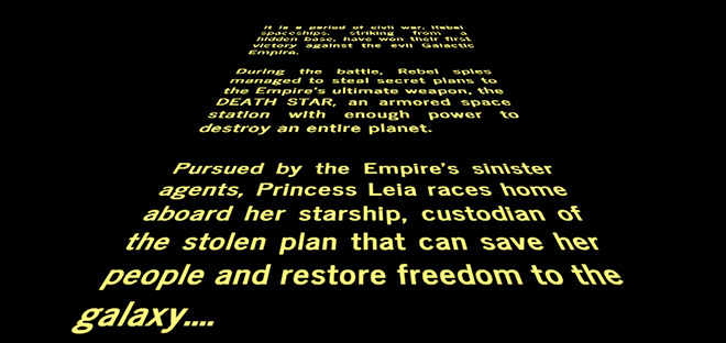 Original star wars opening crawl