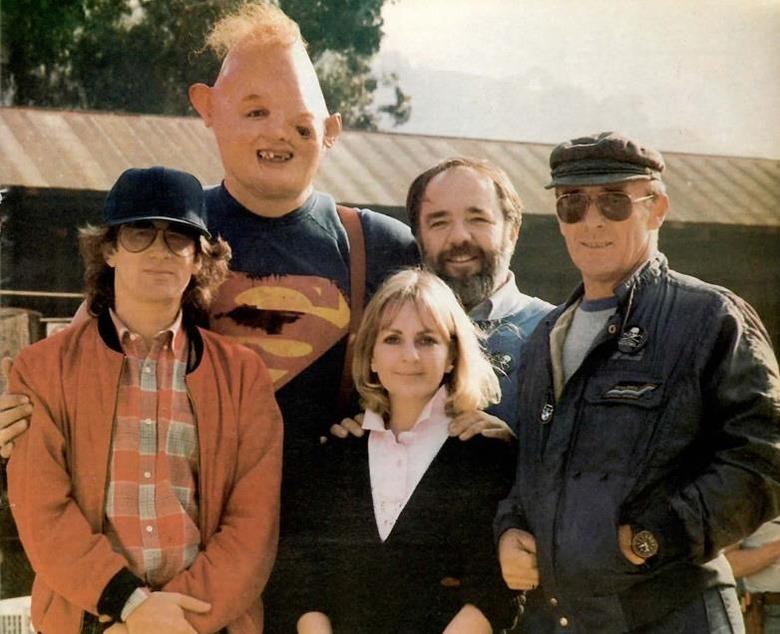 Steven Spielberg, John Matuszak, Bari Dreiband-Burman, Tom Burman and Ellis Burman, Jr. on the set of The Goonies