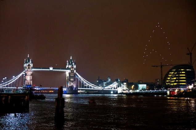 Drones form giant, glowing 'Star Trek' logo over London