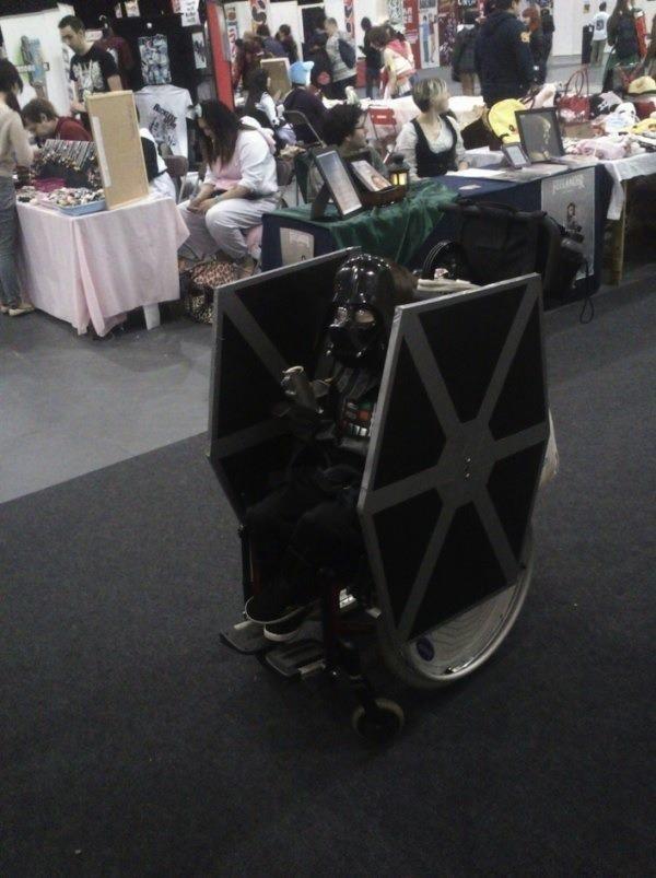 Little Darth Vader Pilots a TIE Fighter Wheelchair [Cosplay]
