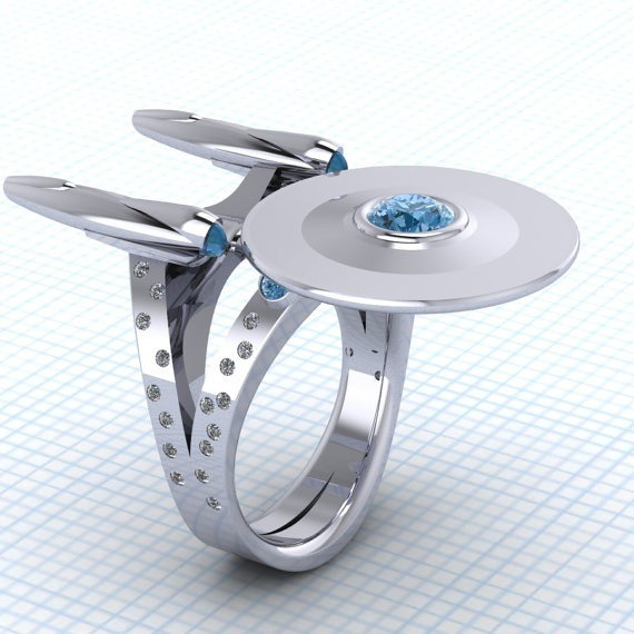 Diamond studded Star Trek ring