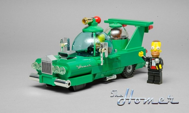 A LEGO Version of The Homer, A Ridiculous Car Designed by Homer Simpson