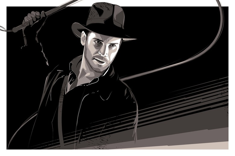 """craig drake's """"Indy"""" - 36x24 silkscreen on wood and paper - Mystery edition Hero complex Gallery LA"""