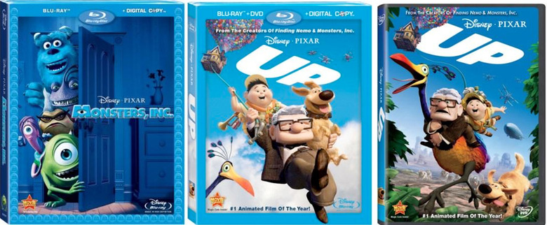 Monsters Inc, Up, DVD Blu-Ray