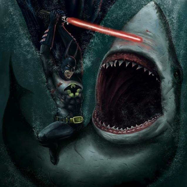 Batman Fighting a Shark with a Lightsaber