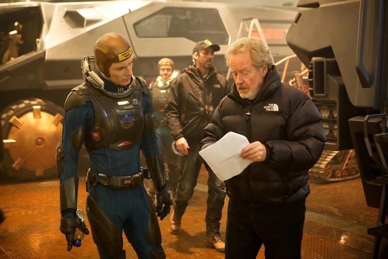 Ridley Scott and Michael Fassbender on Prometheus set