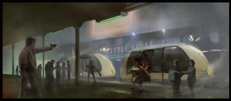 Blade Runner art by Benjamin Carré