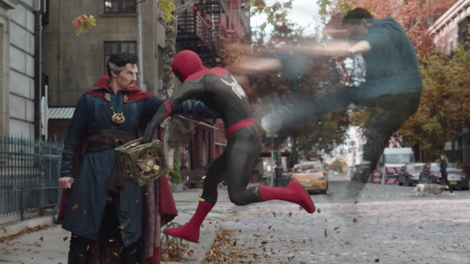 """Benedict Cumberbatch as Doctor Strange(left) and Tom Holland as Spider-Man (right) in in """"Spider-Man: No Way Home"""""""