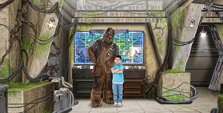 star wars disneyland star wars launch bay chewbacca meet and greet