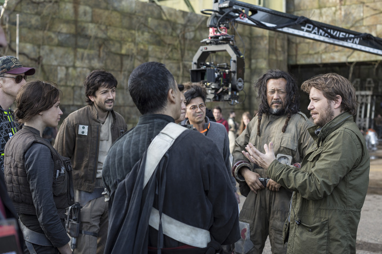Star Wars Rogue One set - Diego Luna, Felicity Jones, Jiang Wen, Gareth Edwards