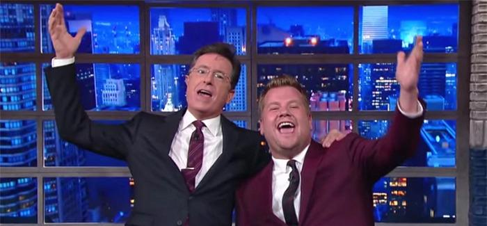 Stephen Colbert and James Corden Return to Studio