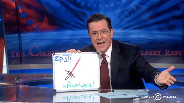 Stephen Colbert star wars Force Awakens lightsaber