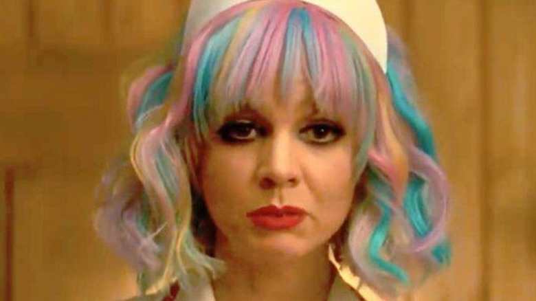 Carey Mulligan dressed as stripper nurse