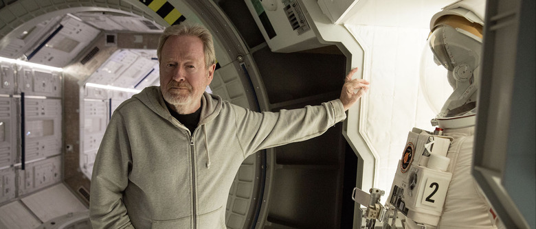 Ridley Scott on the set of The Martian
