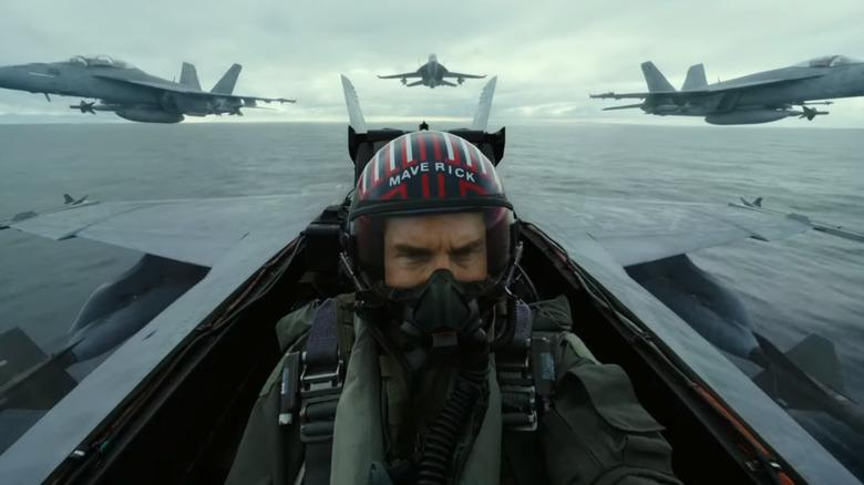 Maverick flying a plane