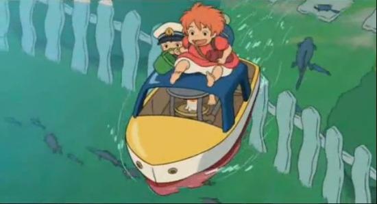 Ponyo on a boat