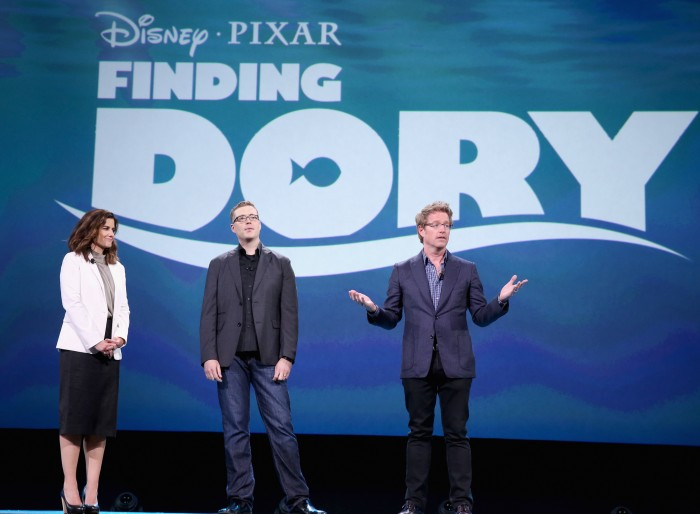 ANAHEIM, CA - AUGUST 14: (L-R) Producer Lindsey Collins and directors Angus MacLane and Andrew Stanton of FINDING DORY took part today in