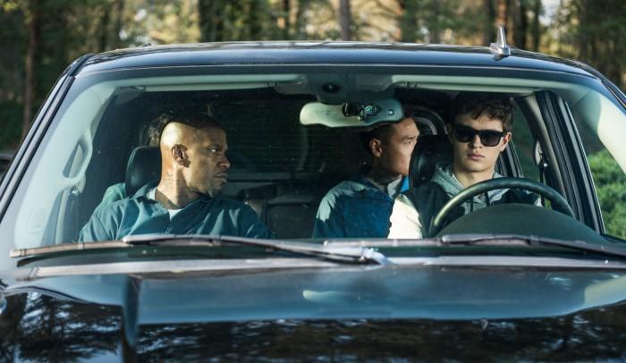 Baby Driver - Bats (Jamie Foxx), JD (Lanny Joon), Baby (Ansel Elgort)