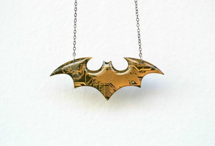 Batman circuit board necklace
