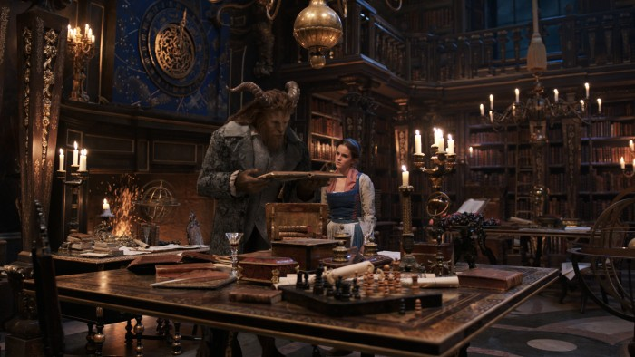 Beauty and the Beast - Beast (Dan Stevens) and Belle (Emma Watson) in library