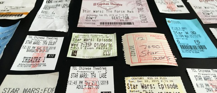 Bradley King's Force Awakens ticket stubs