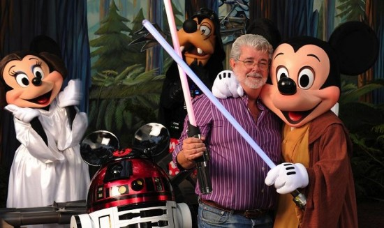 George Lucas with Disney Star Wars characters